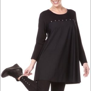 Jason Comfy USA Lagenlook A-line stud dress top L